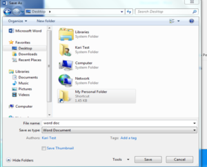 Save your file into the newly created folder